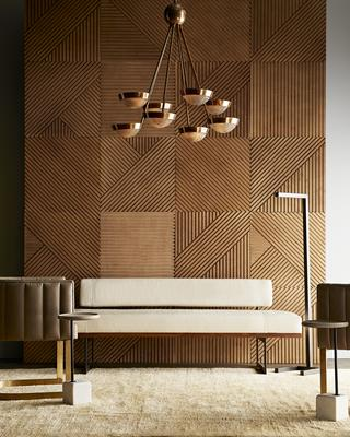 Claudia Chandelier, Salford Floor Lamp, Tatum Chair, Tuck Bench and Davies Accent Table.