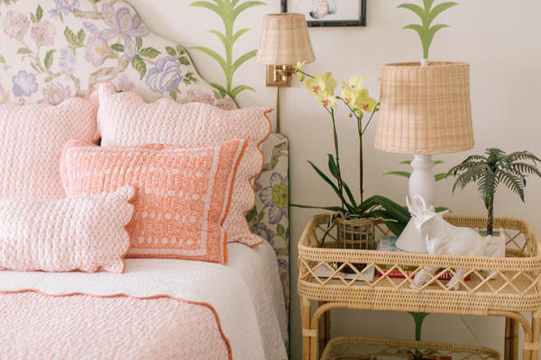 Bahama Bedside Sconce and Lyford Bar Table