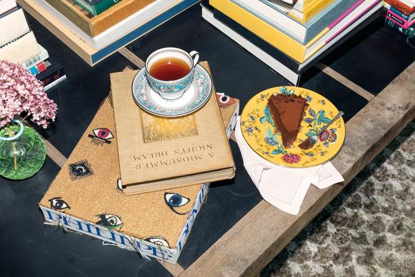 A Florentine Turquoise Cup and Saucer with a Wanderlust Cake Plate in Yellow Tonquin