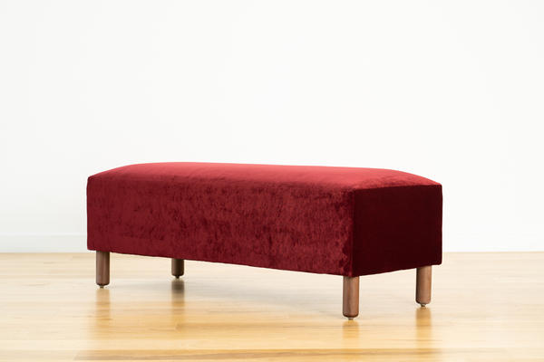 Hawthorne Bench in Merlot velvet and walnut