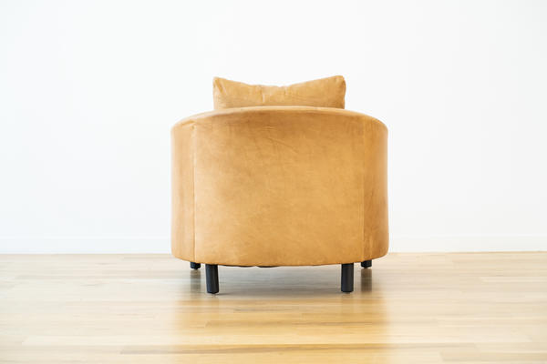 Hawthorne Chair in Camel leather and Charcoal oak