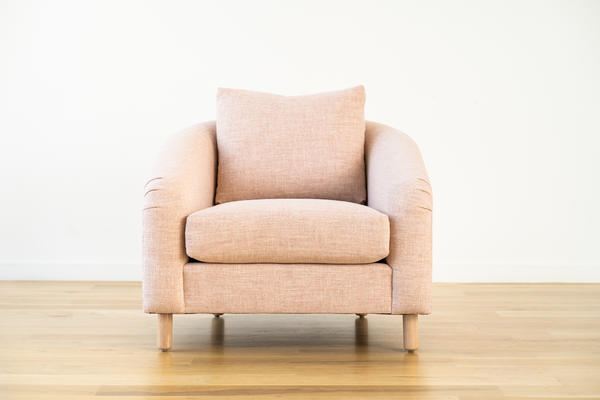 Hawthorne Chair in Blush linen leather and Natural oak