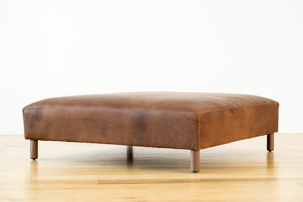 Hawthorne Ottoman in Tobacco leather and walnut