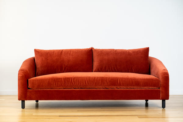 Hawthorne Sofa in Rust velvet and Charcoal oak
