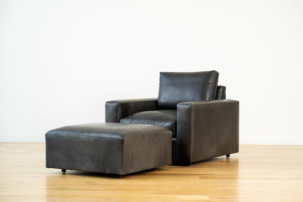 Linden Chair in Charcoal leather