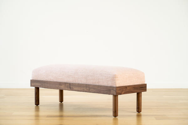 Norwood Bench in Blush linen and walnut