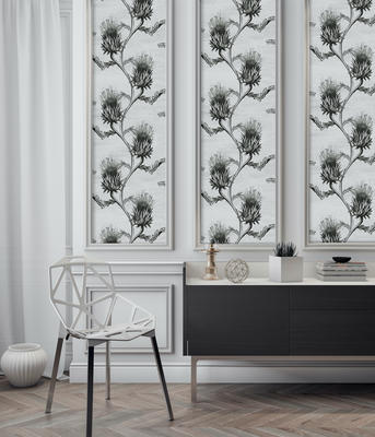 Cynara Wallpaper in Charcoal
