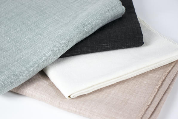 Timeless Linen in Tranquil, Charcoal, Pristine and Haze