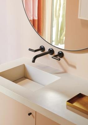 A sink featuring the Jason Wu for Brizo Two-Handle Wall Mount Lavatory Faucet in Matte Black (Photography: Ty Cole Studio Inc.)