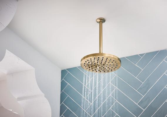 The Round Raincan Showerhead in Brilliance Luxe Gold