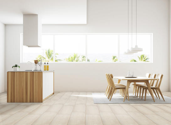 Denova replicates the look of concrete with cool tones and a brushed linear texture.