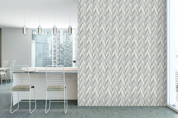 "The marble, limestone and glass mosaic Impulse is a 14"" x 15"" contemporary chevron available in Cream, Blue, Winter, and White."
