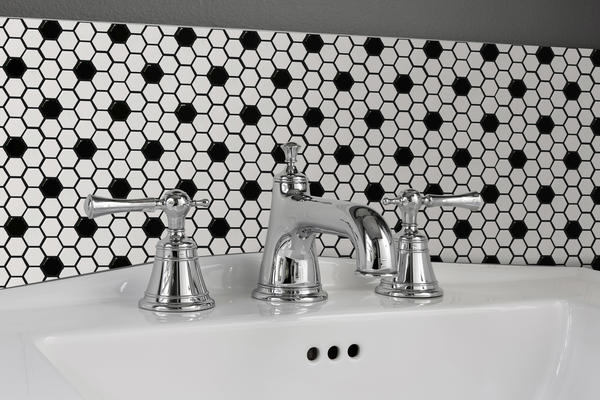 "Influence, a 10"" x 11"" glazed porcelain mosaic, brings a retro vibe and is available in four colorways."