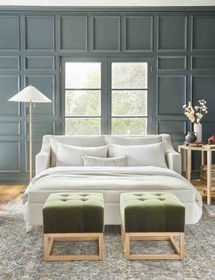 Coniston Sleeper Sofa in Natural and Grasmere Ottoman in Jade