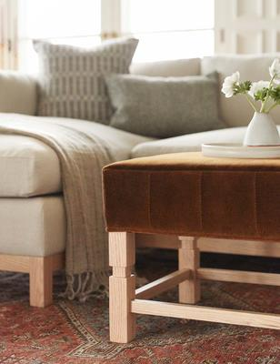 Hollingworth Sectional Sofa in Natural and Ambleside Ottoman in Cognac
