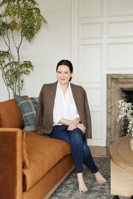 Ginny Macdonald on the Hollingworth Sofa in Cognac