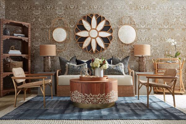 Selamat x Morris & Co. living room inspiration featuring the Bullerswood Mirror in Charcoal Grey, Acorn Coffee Table, Kelmscott Lounge Chairs and Daffodil Lamps in Whitewashed