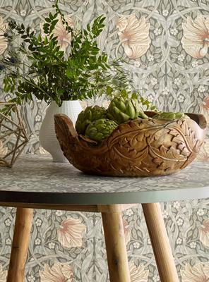Selamat x Morris & Co. Acanthus Large Bowl, handcarved from teak roots