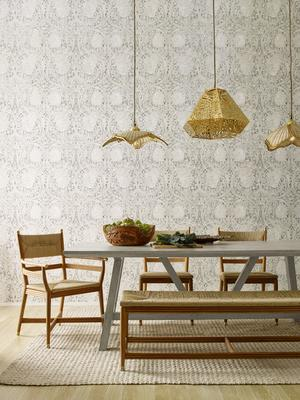 Selamat x Morris & Co. Kelmscott Dining Collection, Marigold Diamond pendant, and Poppy and Butterfly woven rattan pendants