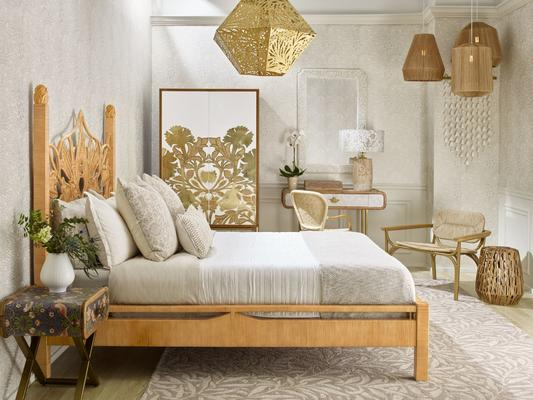 Selamat x Morris & Co. Artichoke Bed, Poppy Armoire,Marigiold Hexagonal Pendant, and Kelmscott Lounge Chair in Natural