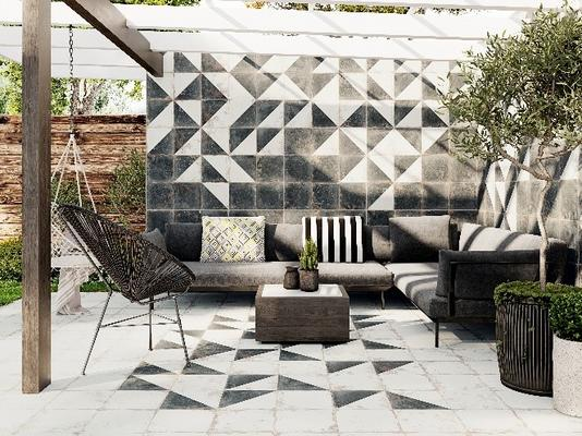 Rhapsody juxtaposes an alluring distressed finish with modern design flexibility. Ideal for floor and wall applications, the white, black, floral, and diagonal porcelain patterns complement a wide array of design themes.