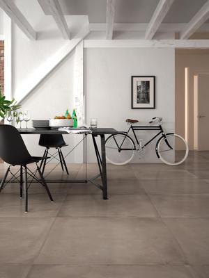 Borigni is a glazed body-match porcelain with an industrial, urban aesthetic that can replicate the look of concrete in a variety of sizes, patterns and mosaics.
