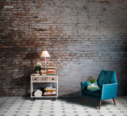 """Cortijo is inspired by courtyards in the south of Spain. The unique scored design of this 18""""x 18"""" glazed ceramic floor and wall tile provides the illusion of multiple tiles, but installs with the ease of one."""