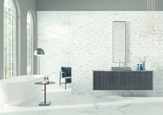 Marquesa's floret pattern instills a regal air, while the blanc pattern offers a fresh and modern feel in a  large-format size and classic marble look. Shown here on the back wall, floor, and feature wall.