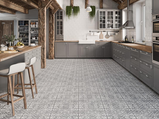 "Nostalgia's design was inspired by handpainted tiles created by skilled artisans. The 18"" x 18"" pre-scored size combines heritage craftmanship with modern technology, providing an easy-to- install designer look."