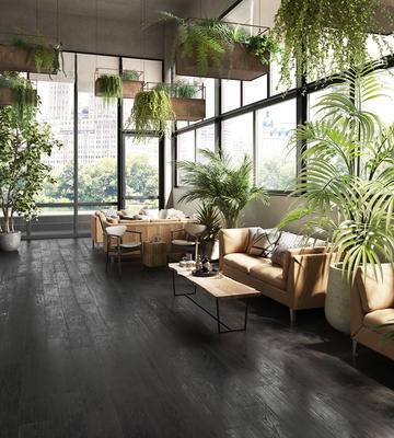 Designed in collaboration with Gensler, Yakedo beautifully replicates the look of burnt wood in a glazed porcelain plank tile.