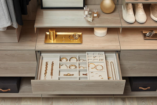 Avera Full-Extension, Soft-Close Drawers in Stone with jewelry organizers