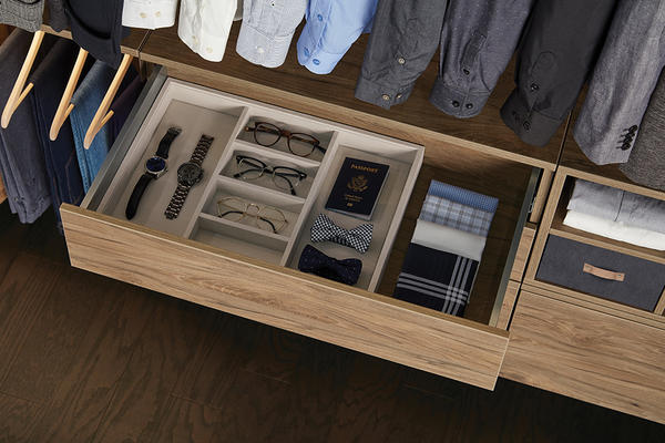 Avera Full-Extension, Soft-Close Drawers in Dune with  accessory organizers