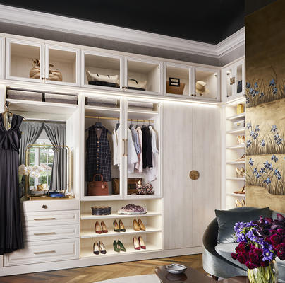 Laren Walk-in Closet in Aspen with LED lighting and glass doors