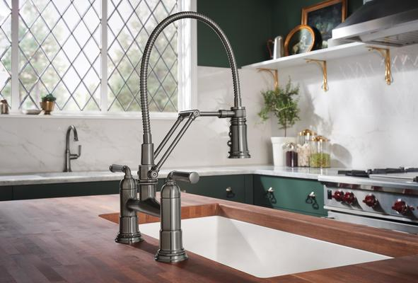 Articulating Bridge Faucet with Finished Hose from the Rook Kitchen Collection