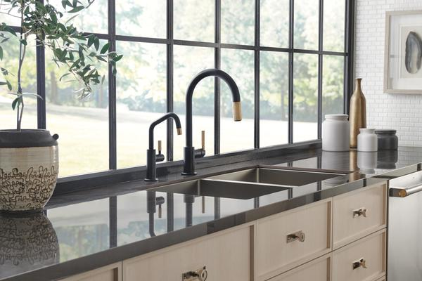 Pull-Down Faucet with Arc Spout and Knurled Handle & Beverage Faucet with Angled Spout and Knurled Handle from the Litze Kitchen Collection