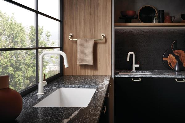 Pull-Down Faucet & Pull-Down Prep Faucet with Square Spout and Guyana Teak Handle from the Jason Wu for Brizo Kitchen Collection
