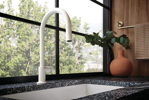 Pull-Down Faucet with Arc Spout and Brilliance Polished Nickel Handle from the Jason Wu for Brizo Kitchen Collection