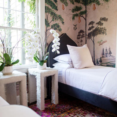 Hair-on-Hide Side Tables pair perfectly with the Crown Bed
