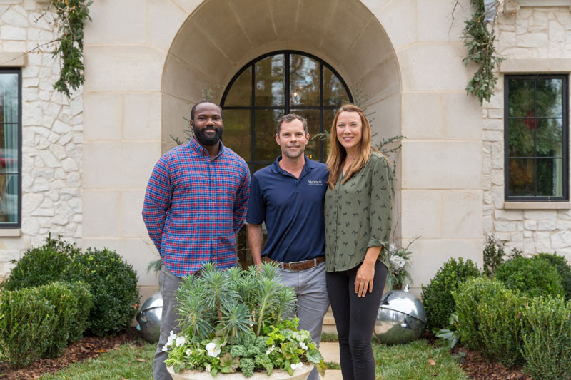 Christopher Phillips and Lucinda Bray of Floralis Garden Design with Ernie Murphy of Maxwell (center). Their teams were responsible for the project's landscape architecture.