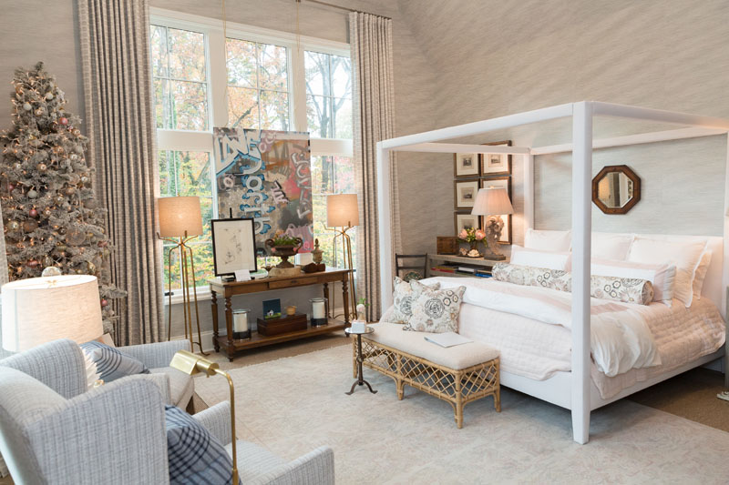 The primary bedroom was designed by Lauren Davenport Imber of Davenport Designs.