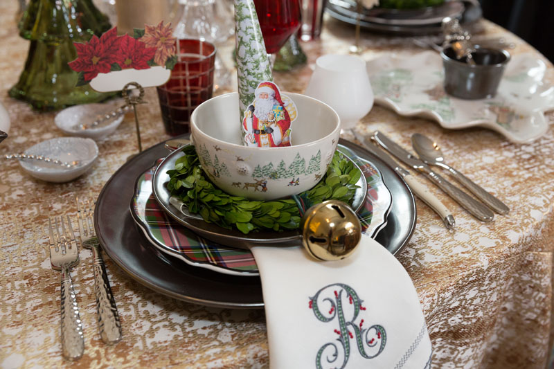 A festive tabletop designed by Waiting On Martha Home for the 'Well Set: Entertaining in Style' showcase in the showhouse's garage.