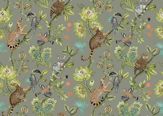 Camp Critters fabric in Delta, available in linen or velvet
