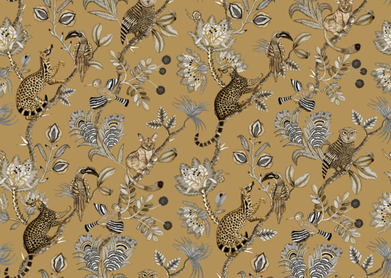 Camp Critters velvet fabric in Gold