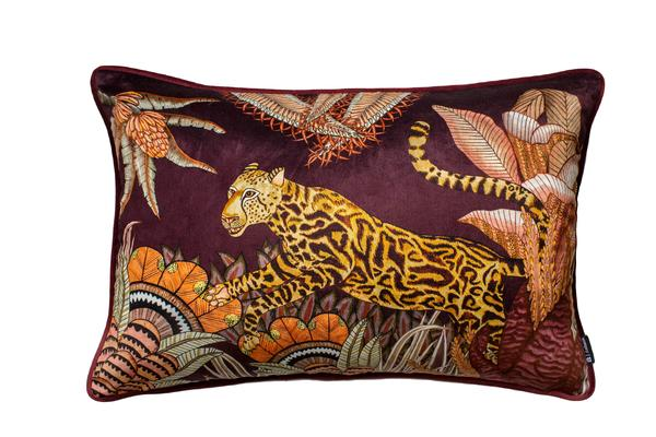 Cheetah Kings Forest cotton pillow in Plum