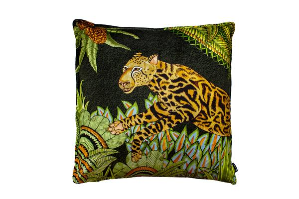Cheetah Kings Forest velvet pillow in Delta