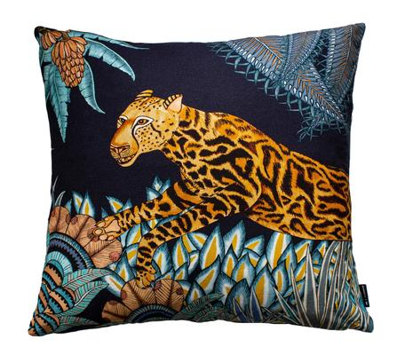 Cheetah Kings Forest velvet pillow in Tanzanite