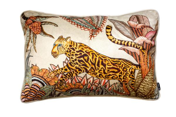 Cheetah Kings Forest cotton pillow in Magnolia