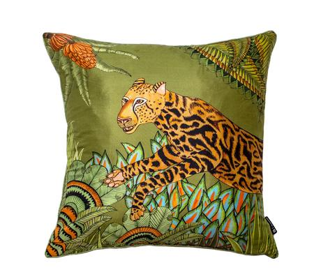 Cheetah Kings Forest silk pillow in Delta