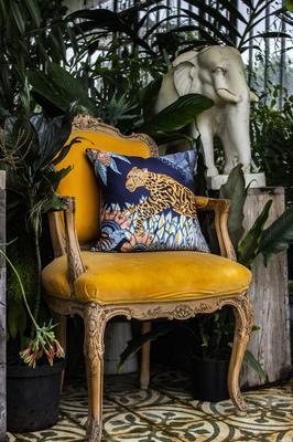 Cheetah Kings Forest silk pillow in Tanzanite