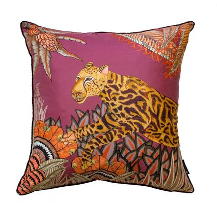 Cheetah Kings Forest silk pillow in Plum